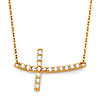 Curved CZ Sideways Cross Floating Charm Necklace in 14K Yellow Gold