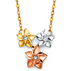 Three Tropical Flowers CZ Floating Pendant Necklace in 14K Tricolor Gold