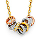 CZ Stackable Mini Eternity Circle Necklace in 14K Tricolor Gold thumb 0