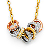 CZ Stackable Mini Eternity Circle Necklace in 14K Tricolor Gold