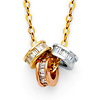 Stackable Trio Emerald-Cut CZ Eternity Circle Necklace in 14K Tricolor Gold