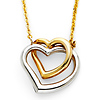 Floating Intertwining Duo Heart Necklace in 14K Two-Tone Gold