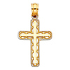 Fancy Petite Milgrain Cross Pendant in 14K Two-Tone Gold