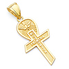 My First Communion Spanish Text Small Cross Pendant in 14K Yellow Gold