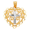 Filigree Heart Mini Cross Pendant in 14K Two Tone Gold