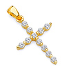 Petite CZ Round Pettern Cross Pendant in 14K Yellow Gold