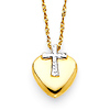 Diamond-Cut Cross Over Heart Necklace in 14K Two-Tone Gold