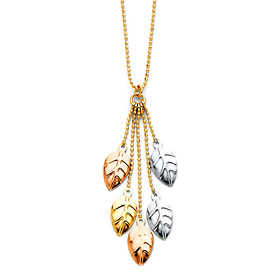 Ovate Leaves Tassel Charm Necklace in 14K Tricolor Gold