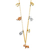Dangling Good Luck Charms Necklace in 14K Tricolor Gold