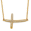 Floating Curved Micropave CZ Sideways Cross Necklace in 14K Yellow Gold