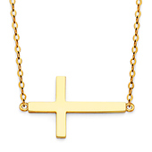 Classic Floating Sideways Cross Necklace in 14K Yellow Gold