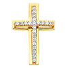 Small CZ Cross Pendant in 14K Yellow Gold