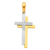 Small Diamond-Cut Double Cross in 14K Two Tone Gold
