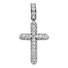 Small Pave Cubic Zirconia Round Cross Pendant in 14K White Gold