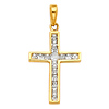 Petite Princess & Round-Cut Channel-Set Cross Pendant in 14K Yellow Gold