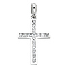 Petite Princess & Round-Cut Channel-Set CZ Cross Pendant in 14K White Gold