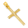 Small Diamond-Cut Cross Pendant with Slanted Edges in 14K Yellow Gold