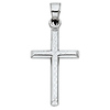 Small Diamond-Cut Cross Pendant with Slanted Edges in 14K White Gold