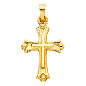Small Patonce Brushed Cross Pendant in 14K Yellow Gold
