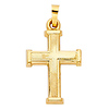 Small Beaded Cross Pendant in 14K Yellow Gold