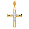 Small White Satin Center Cross in 14K Yellow Gold