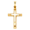 Small Two Tone Cross Pendant with Carved Edge in 14K Yellow Gold