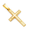 Petite Carved Design Cross Pendant in 14K Yellow Gold