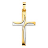 Small Two Tone Swirl Cross Pendant in 14K Yellow Gold
