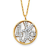 Whimsical CZ Circle of Love Pendant Necklace in Two-Tone 14K Yellow Gold