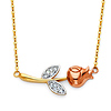 Red Rose CZ Floating Pendant Necklace in 14K Tricolor Gold