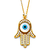 Hamsa Evil Eye Necklace with Micropave CZs in 14K Yellow Gold