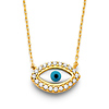 Floating Round-Cut CZ Evil Eye Necklace in 14K Yellow Gold