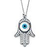 Hamsa Evil Eye Necklace with Micropave CZs in 14K White Gold