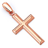Small Latin Beveled Edge Cross Pendant in 14K Rose Gold