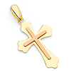 Small Two-Tone Fleury Cross Pendant in 14K Yellow Gold