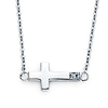 Floating Mini Sideways Cross Necklace with CZ Accent in 14K White Gold