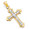 Small Diamond-Cut Budded Cross Pendant in 14K Two-Tone Gold