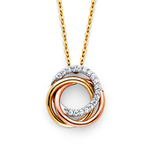 CZ Trinity Infinity Rings Necklace in 14K Tricolor Gold