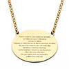 Lord's Prayer in Spanish Padre Nuestro Floating Medal Necklace in 14K Yellow Gold