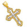 Small Budded Passion Cross Pendant in 14K Two-Tone Gold