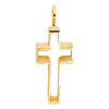 Small Open Brush Cross Pendant in 14K Yellow Gold