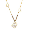 Floating Hearts '15 Anos' Quinceanera Charm Necklace in 14K Tricolor Gold