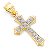 Petite CZ Pave Patonce Cross Pendant in 14K Two-Tone Gold
