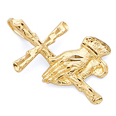 Small Praying Hands Cross Pendant in 14K Yellow Gold