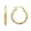 Small Rounded Diamond-Cut Hoop Earrings - 14K Yellow Gold 3mm x 0.9 inch