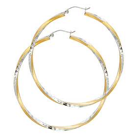 Large Twisted Satin Diamond-Cut Hinge Hoop Earrings - 14K Two-Tone Gold 2.6mm x 1.7 inch