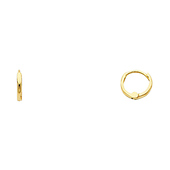 Petite 14K Yellow Gold CZ Huggie Hoop Earrings 1.5mm x 8mm