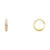 6 Stone 14K Yellow Gold CZ Huggie Hoop Earrings 2mm x 11mm