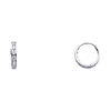 6 Stone 14K White Gold CZ Huggie Hoop Earrings 2mm x 11mm