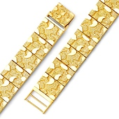 Men's 14mm 14K Yellow Gold Flat Nugget Link Bracelet 8in